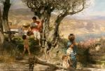 Rome. Village. Going to Fetch Water. G. Semiradsky. End of the 1880s. Canvas, oil