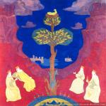 Blessed Tree (Blessed Nest Attracts Eyes). N. Roerich. Sketch. 1912. Cardboard, tempera