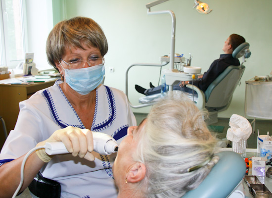 Omsk dentist at work