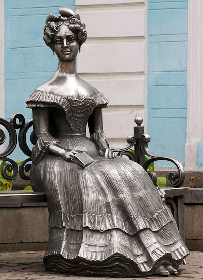 Liuba. Sculpture is devoted to the wife of Western Siberia Governor-General Gustav Christophe von Gasford. Sculptor S. Noryshev, design by I. Vakhitov